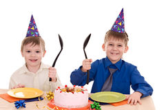 Two boy wich cake Royalty Free Stock Image