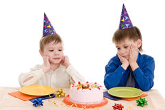 Two boy wich cake Royalty Free Stock Images