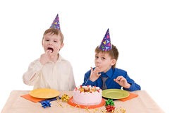 Two boy wich cake Stock Photos