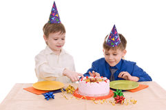 Two boy wich cake Stock Photo