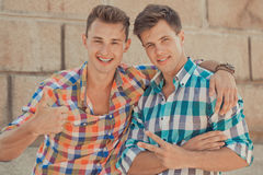 Two boyfriends outdoor portrait Royalty Free Stock Images