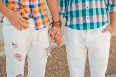 Two boyfriends outdoor portrait Stock Image