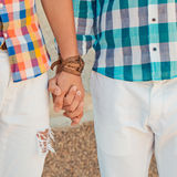 Two boyfriends outdoor portrait Royalty Free Stock Image