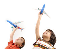 Two boys with airplains Royalty Free Stock Photos