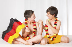 Two boys all excited Royalty Free Stock Images