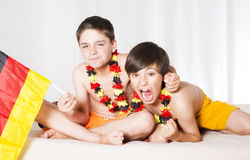 Two boys all excited Royalty Free Stock Photos