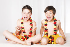 Two boys all excited Stock Photo