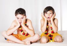 Two boys all excited Royalty Free Stock Image