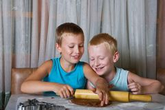 Two boys baking cookies Stock Photo