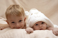 Two Boys after bath. In towel Stock Photo