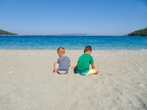 Two boys on the beach Royalty Free Stock Photography