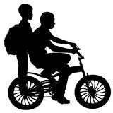Two boys on a bicycle. Two boys riding on a bicycle. Vector stock illustration