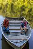Two boys boating Stock Photography
