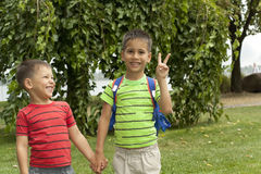 Two boys, brothers holding hands Royalty Free Stock Photos