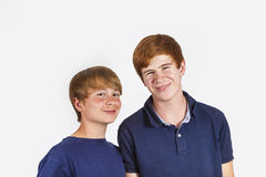 Two boys and brothers stand side by side Royalty Free Stock Images