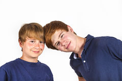 Two boys and brothers stand side by side Stock Photography
