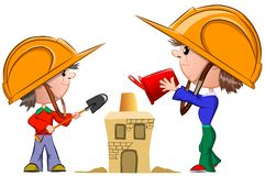Two boys in building helmets building a house of sand, vector stock photography