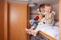 Two Boys In A Caravan Stock Photography