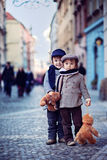 Two boys in the center of PRague Stock Image