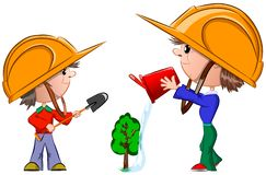 Two boys in construction helmets plant a green tree, vector royalty free stock photos