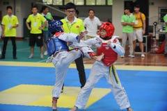 Two boys contest  in a Taekwondo competiton Stock Photography