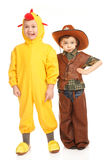 Two boys in costumes Royalty Free Stock Photos
