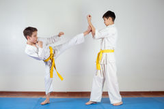 Two boys demonstrate martial arts working together. Fighting position, active lifestyle, practicing fighting techniques royalty free stock photography
