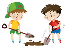 Two boys digging hole with shovels Stock Photography
