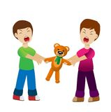 Two boys divide a toy bear cry Royalty Free Stock Images