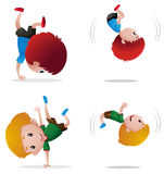 Two boys doing flipping. Illustration royalty free illustration