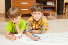 Two boys draw Royalty Free Stock Image