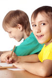 Two boys drawing Stock Photo