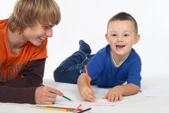 Two Boys Drawing Stock Photography