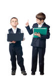 Two boys dressed up in suits Royalty Free Stock Photos