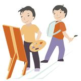 Two boys with an easel. A boy draws on an easel, and another boy blows a brush Stock Photography