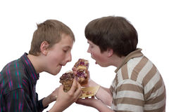 Two boys eating. Large pieces of home-made cake Stock Photos