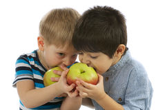 Two Boys Eating Apples Stock Images