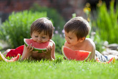 Two boys, eating watermelon in the garden Royalty Free Stock Photo