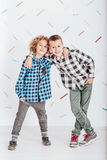 Two boys embracing each other Royalty Free Stock Image