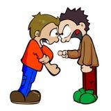 Two boys fighting. Cartoon illustration of two boys fighting Stock Photos