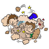 Two boys fighting in a cloud of dust. Cartoon illustration of  two boys fighting in a cloud of dust Stock Images