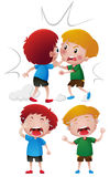 Two boys fighting and crying. Illustration Stock Illustration