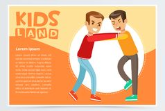 Two boys fighting each other, demonstration of school teenage bullying. And aggression towards other child, kids land banner flat vector element for website or Royalty Free Stock Photography