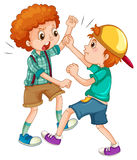 Two boys fighting each other vector illustration