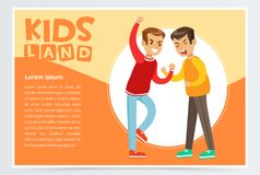 Two boys fighting each other, teen kids quarreling, aggressive behavior, kids land banner flat vector element for royalty free illustration