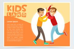 Two boys fighting each other, teen kids quarreling, kids land banner flat vector element for website or mobile app. With sample text Stock Images