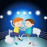 Two boys fighting on the ring. Illustration Royalty Free Stock Photo