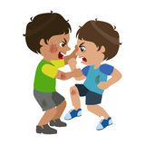 Two Boys Fighting And Scratching, Part Of Bad Kids Behavior And Bullies Series Of Vector Illustrations With Characters. Being Rude And Offensive. Schoolboy With Royalty Free Stock Photography