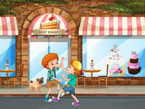 Two boys fighting in the street. Illustration stock illustration