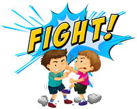 Two boys fighting with word background. Illustration Royalty Free Stock Photography